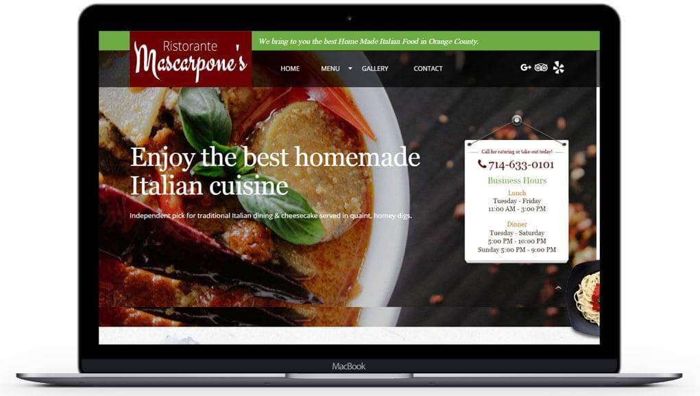 ristorantemascarpones website home page